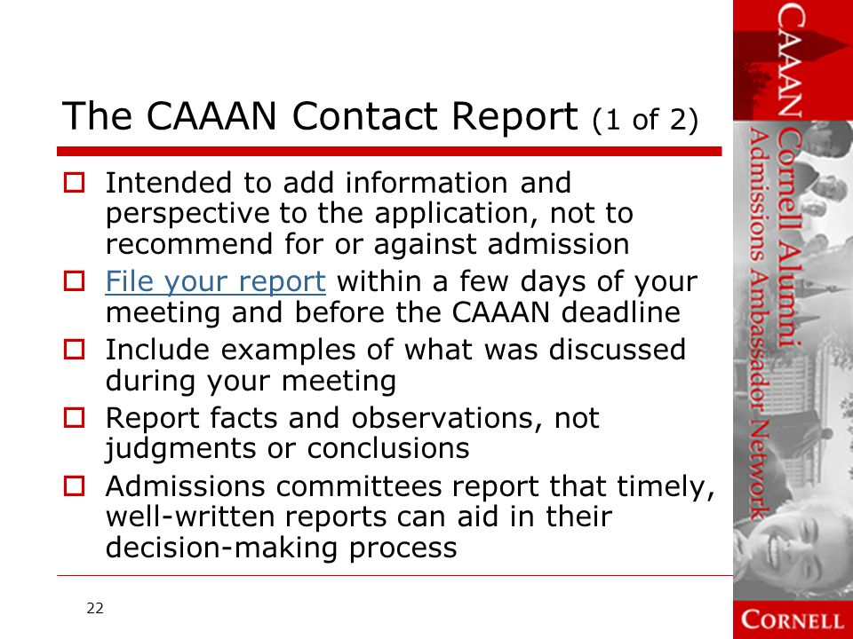 The CAAAN Contact Report (1 of 2)