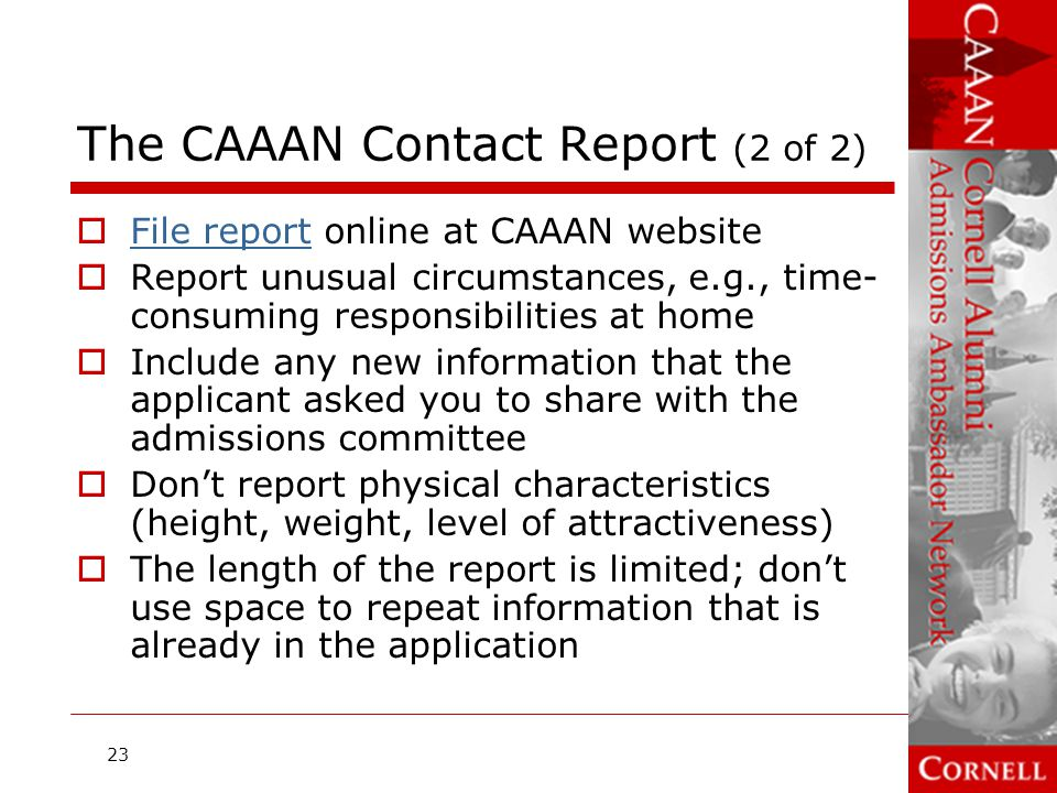 The CAAAN Contact Report (2 of 2)