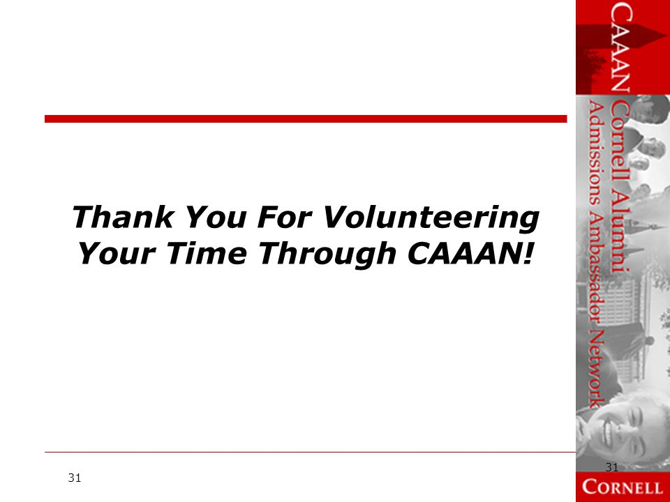 Thank You For Volunteering Your Time Through CAAAN!