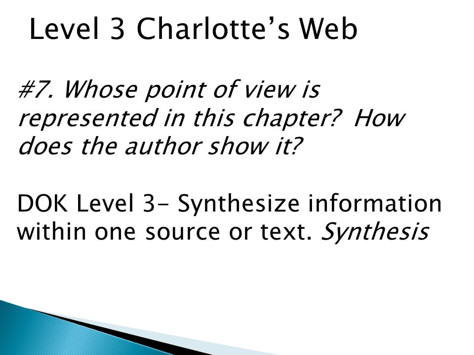 Level 3 Charlotte's Web #7. Whose point of view is represented in this chapter How does the author show it