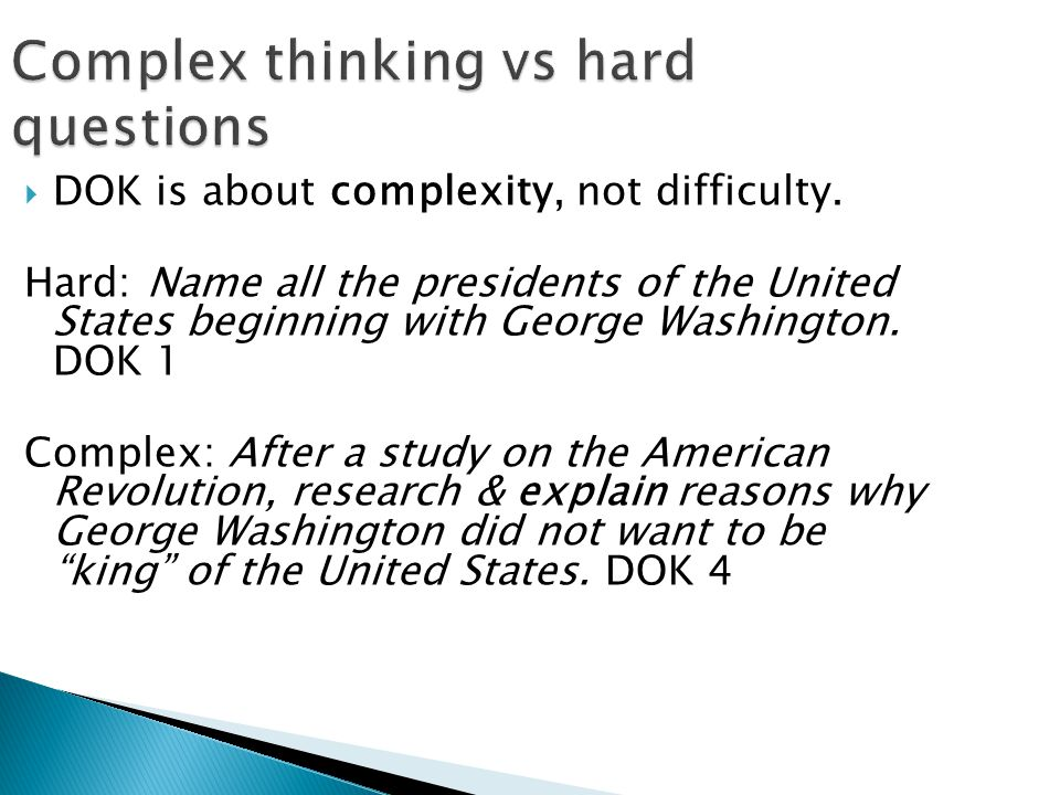 Complex thinking vs hard questions