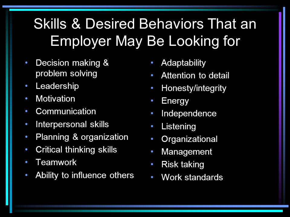 Skills & Desired Behaviors That an Employer May Be Looking for