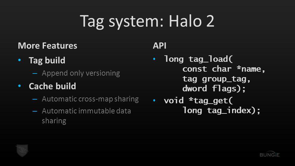 Tag system: Halo 2 More Features API Tag build Cache build