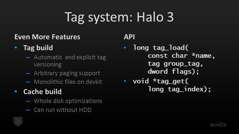Tag system: Halo 3 Even More Features API Tag build Cache build