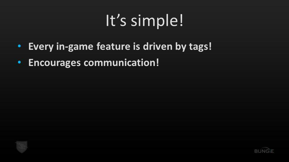 It's simple! Every in-game feature is driven by tags!
