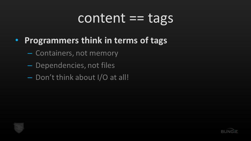 content == tags Programmers think in terms of tags