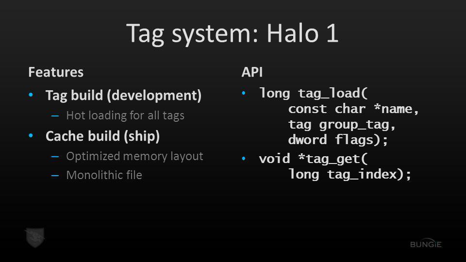 Tag system: Halo 1 Features API Tag build (development)