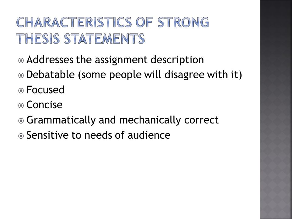 describe characteristics effective thesis statement