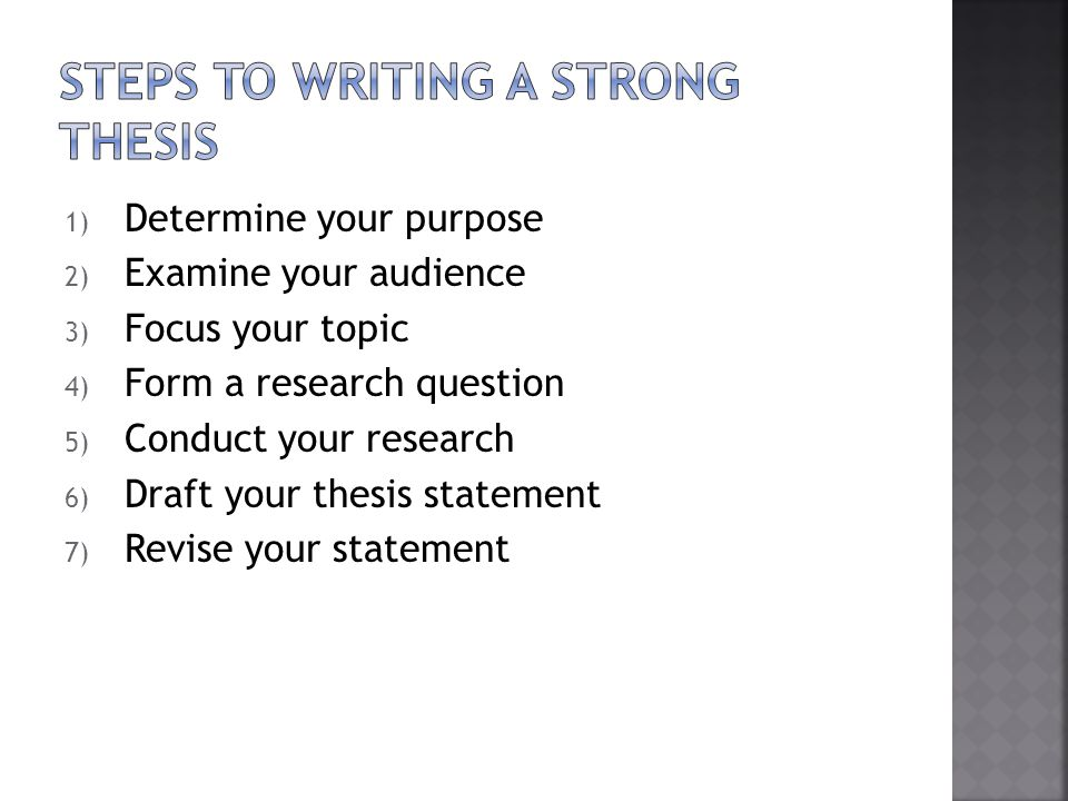 Basic steps to writing a thesis sentence