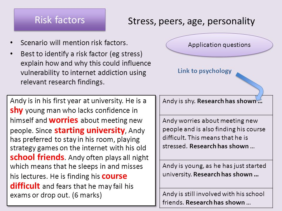 Risk factors Stress, peers, age, personality