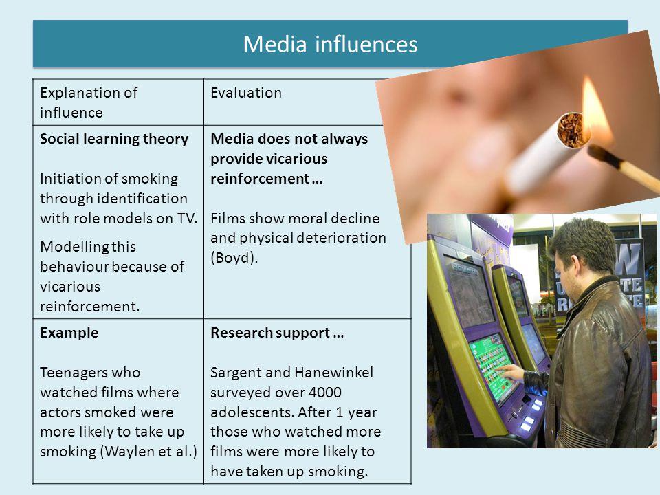 Media influences Explanation of influence Evaluation
