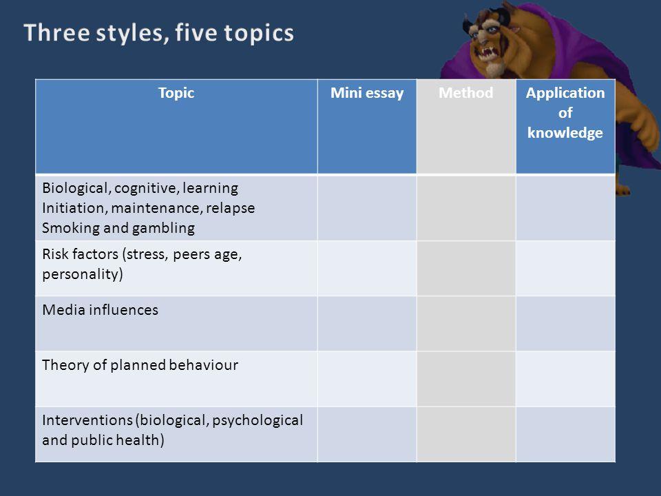 Three styles, five topics