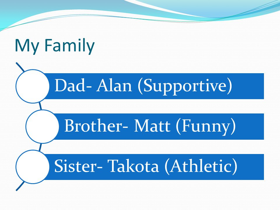 My Family Dad- Alan (Supportive) Brother- Matt (Funny)