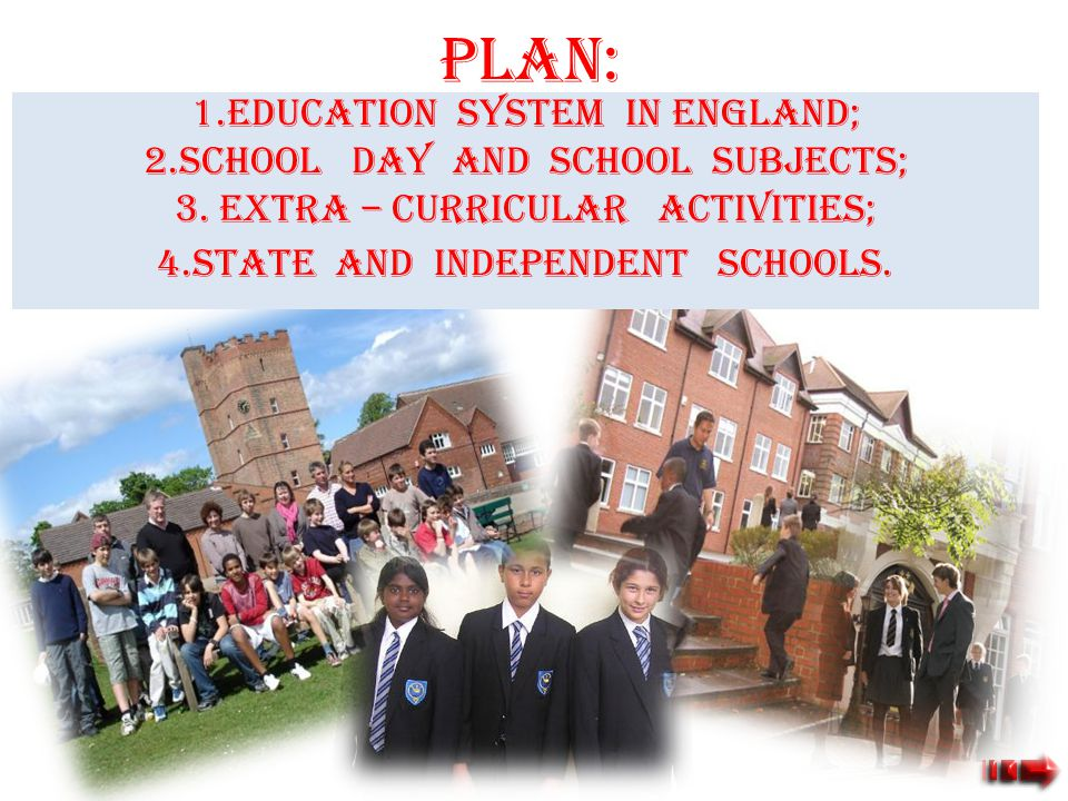 PLAN: 1.Education system in England; 2.School day and school subjects;