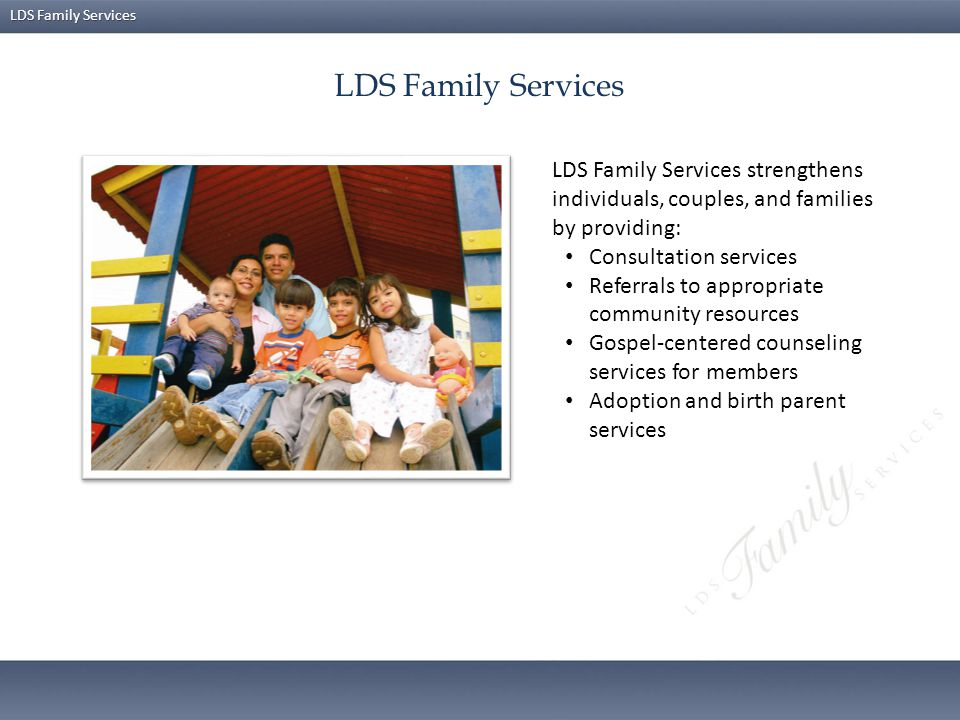 LDS Family Services LDS Family Services strengthens individuals, couples, and families by providing: