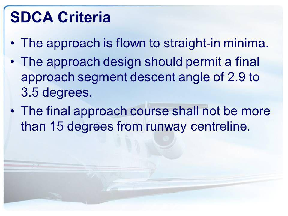 SDCA Criteria The approach is flown to straight-in minima.