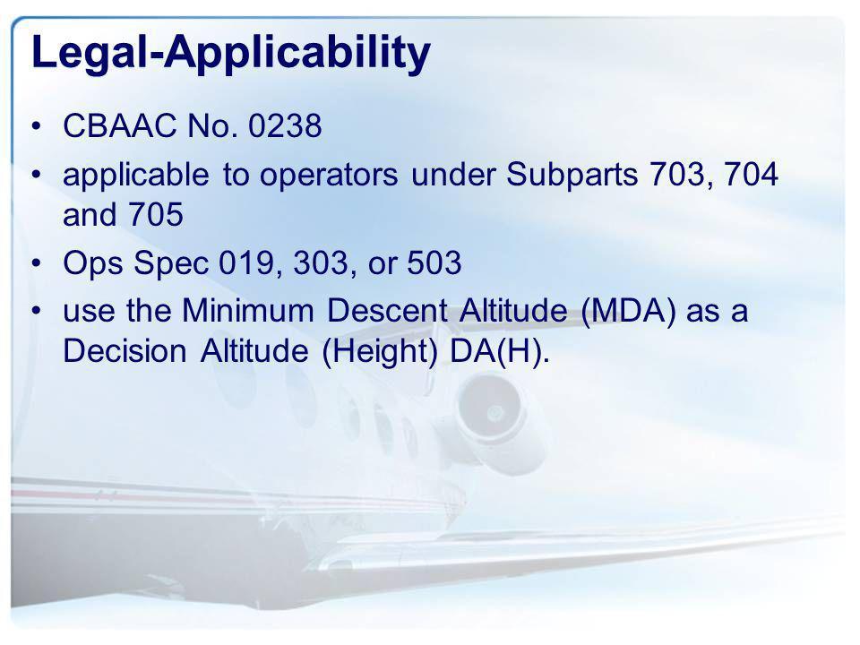 Legal-Applicability CBAAC No. 0238