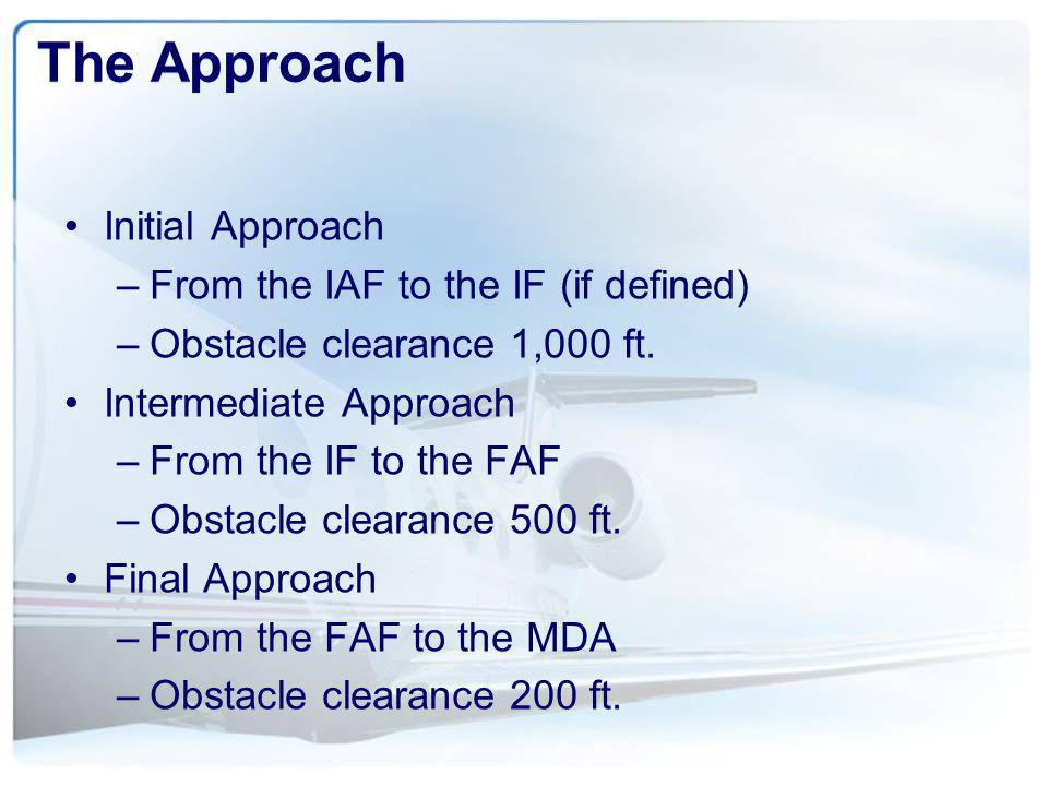 The Approach Initial Approach From the IAF to the IF (if defined)