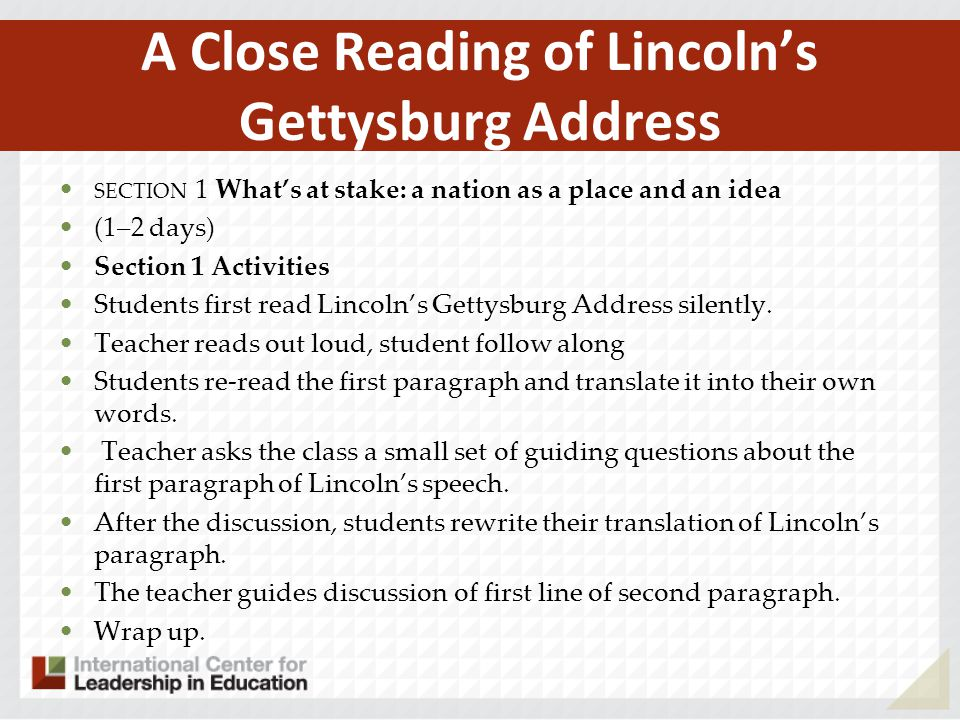 A Close Reading of Lincoln's Gettysburg Address