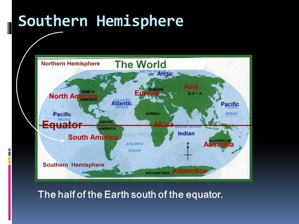 Southern Hemisphere The half of the Earth south of the equator.