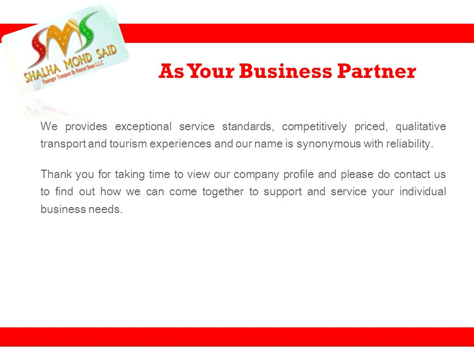 As Your Business Partner