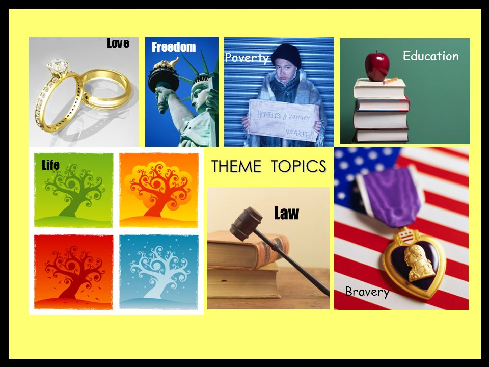 Love Freedom Poverty Education THEME TOPICS Life Law Bravery
