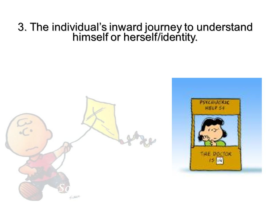 3. The individual's inward journey to understand himself or herself/identity.