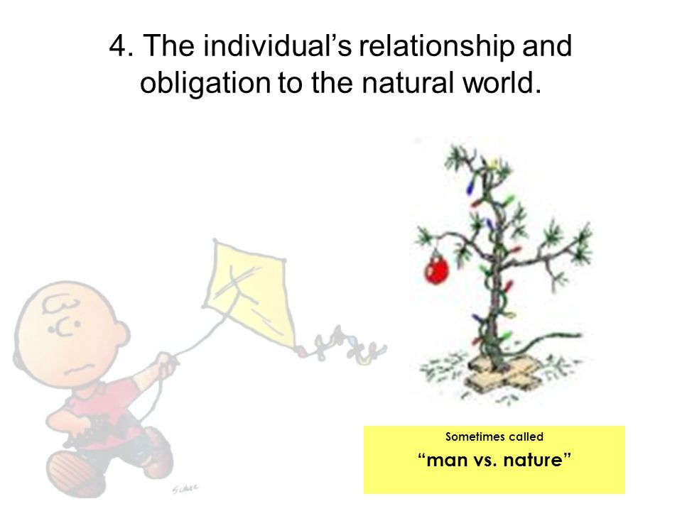 4. The individual's relationship and obligation to the natural world.