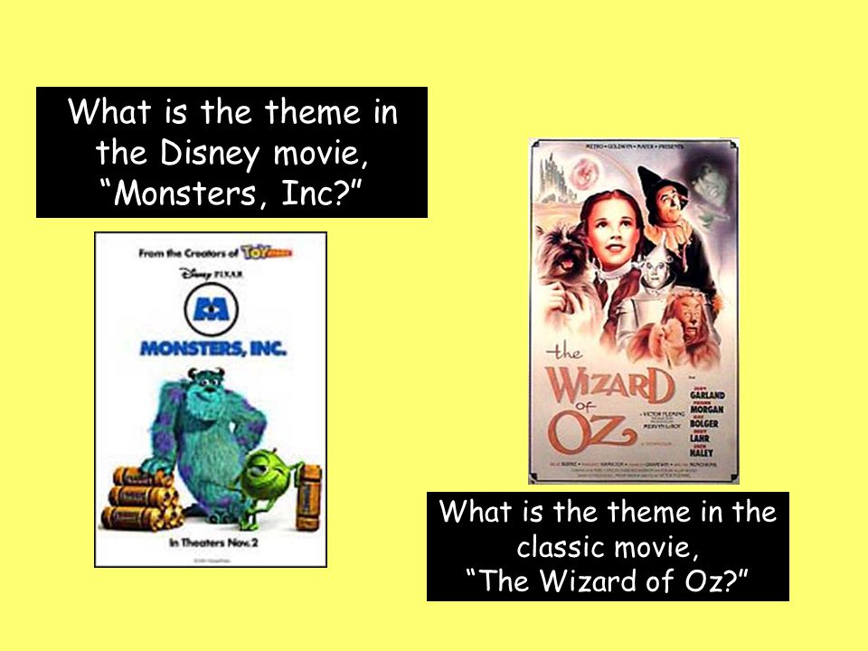 What is the theme in the Disney movie, Monsters, Inc