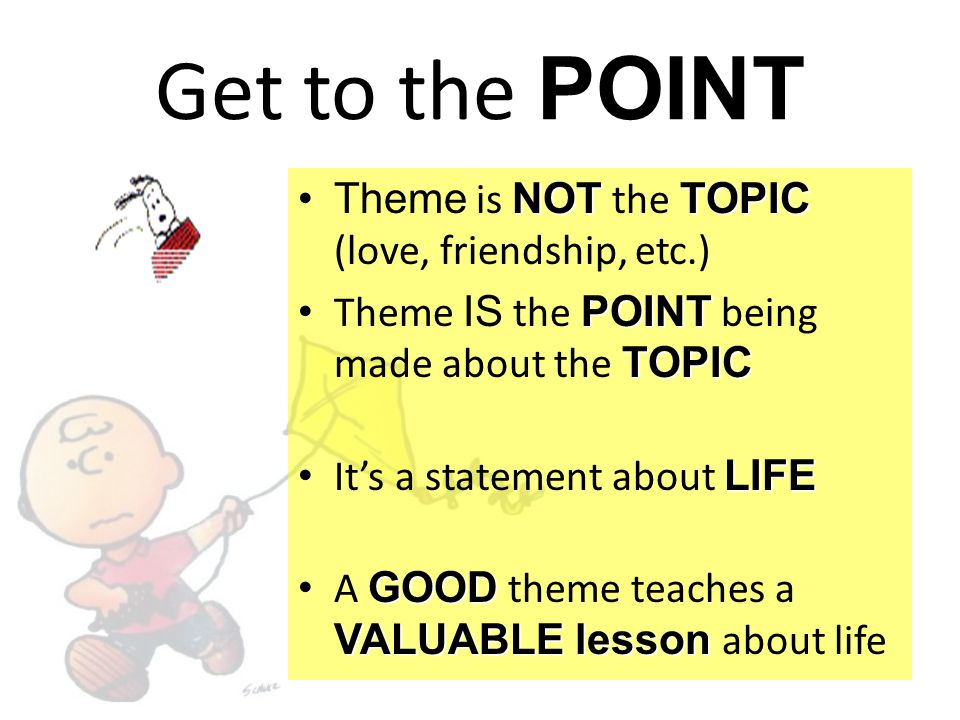 Get to the POINT Theme is NOT the TOPIC (love, friendship, etc.)