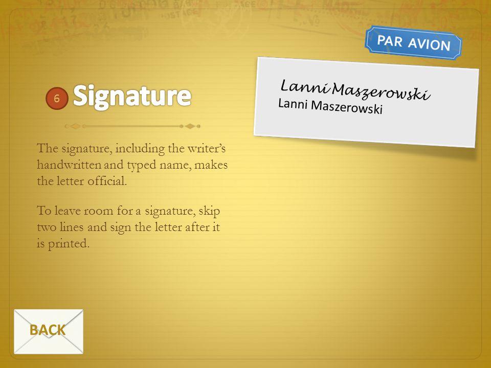 Signature BACK Lanni Maszerowski