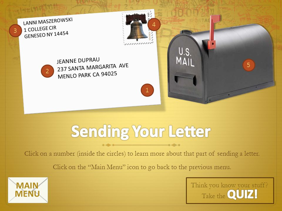 Sending Your Letter MAIN MENU 4 3 5 2 1