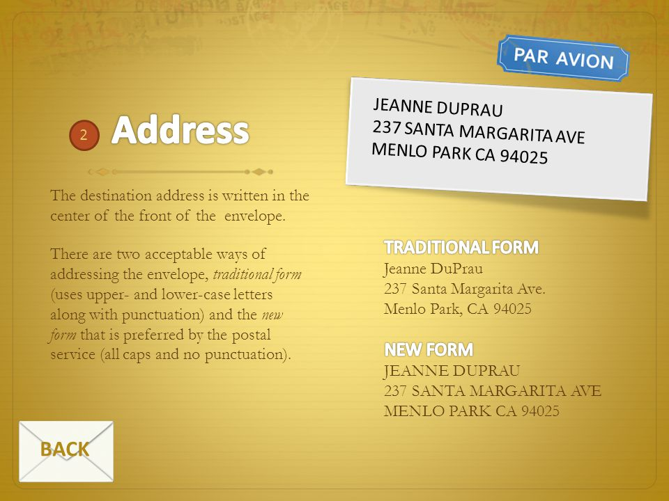 Address BACK Jeanne DuPrau 237 Santa Margarita Ave Menlo Park CA 94025