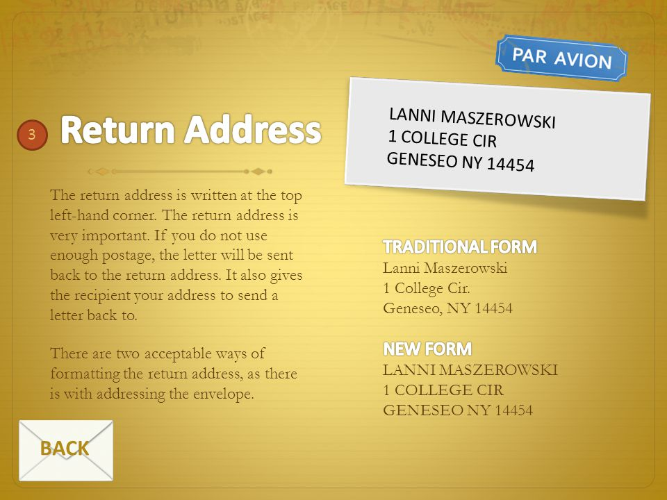 Return Address BACK Lanni maszerowski 1 college cir Geneseo ny 14454