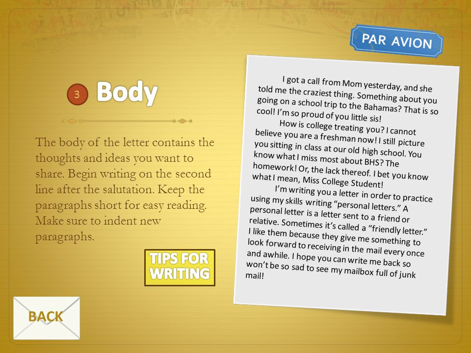 Body TIPS FOR WRITING BACK