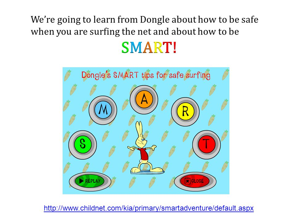 We're going to learn from Dongle about how to be safe when you are surfing the net and about how to be