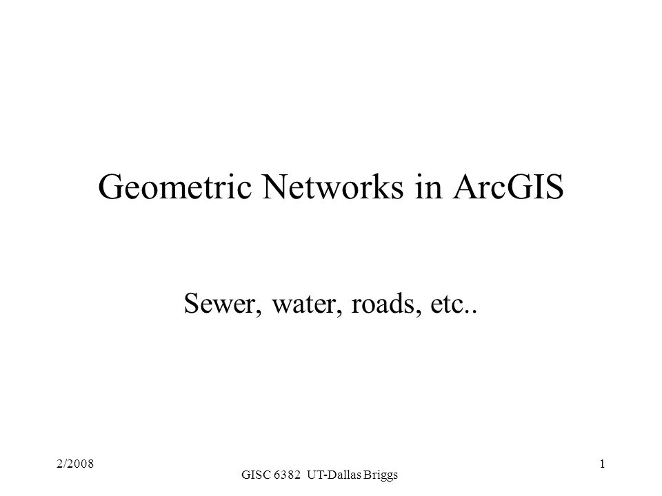 Geometric Networks in ArcGIS