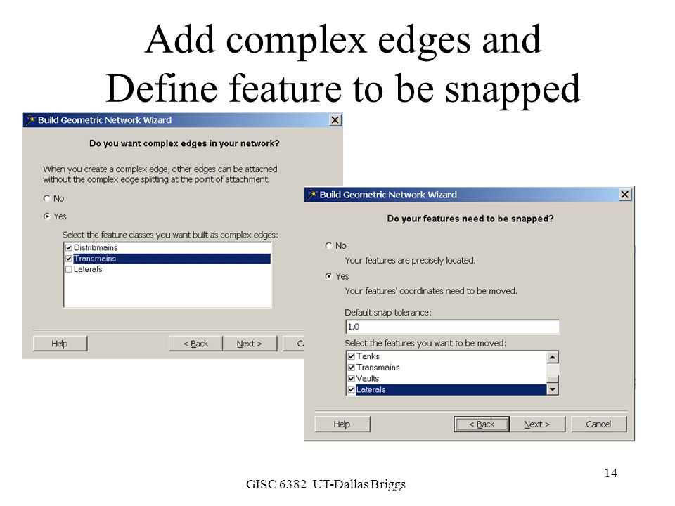 Add complex edges and Define feature to be snapped