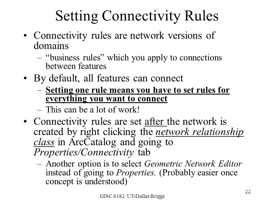 Setting Connectivity Rules