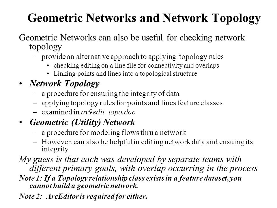 Geometric Networks and Network Topology