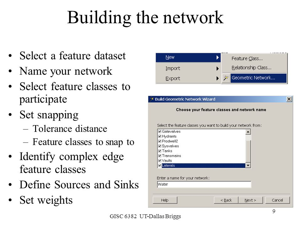 Building the network Select a feature dataset Name your network