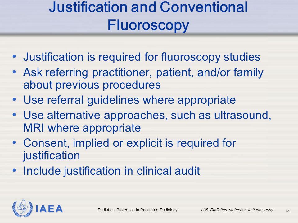 Justification and Conventional Fluoroscopy