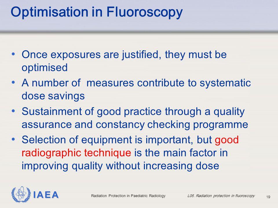 Optimisation in Fluoroscopy