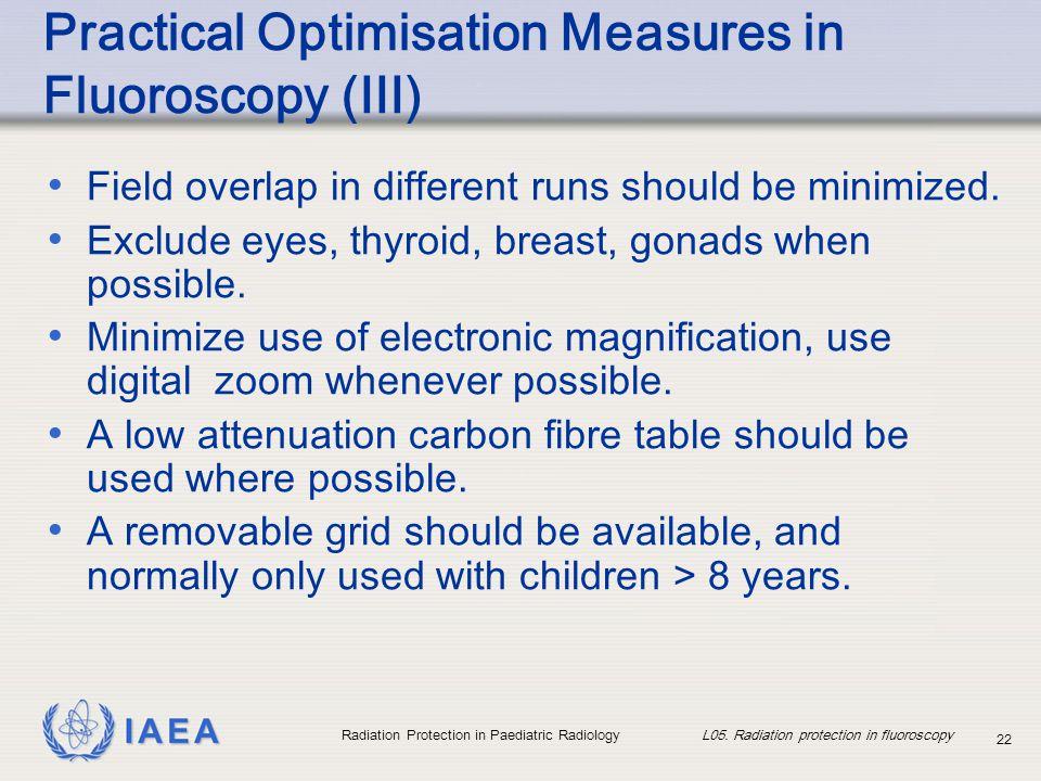Practical Optimisation Measures in Fluoroscopy (III)