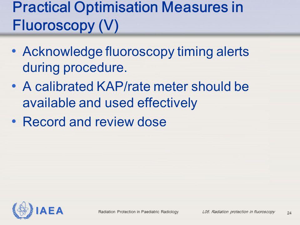 Practical Optimisation Measures in Fluoroscopy (V)