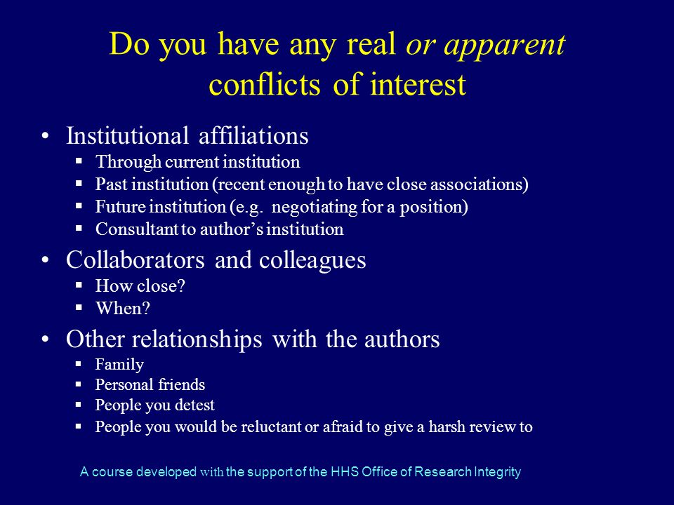 Do you have any real or apparent conflicts of interest