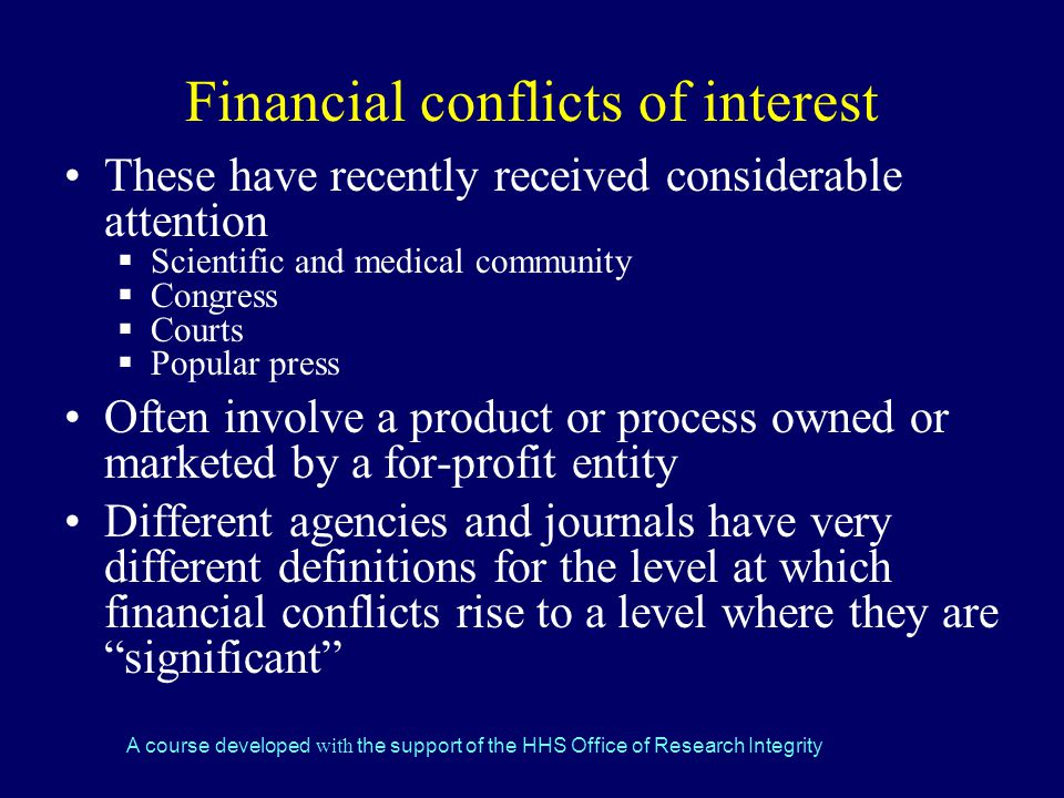 Financial conflicts of interest