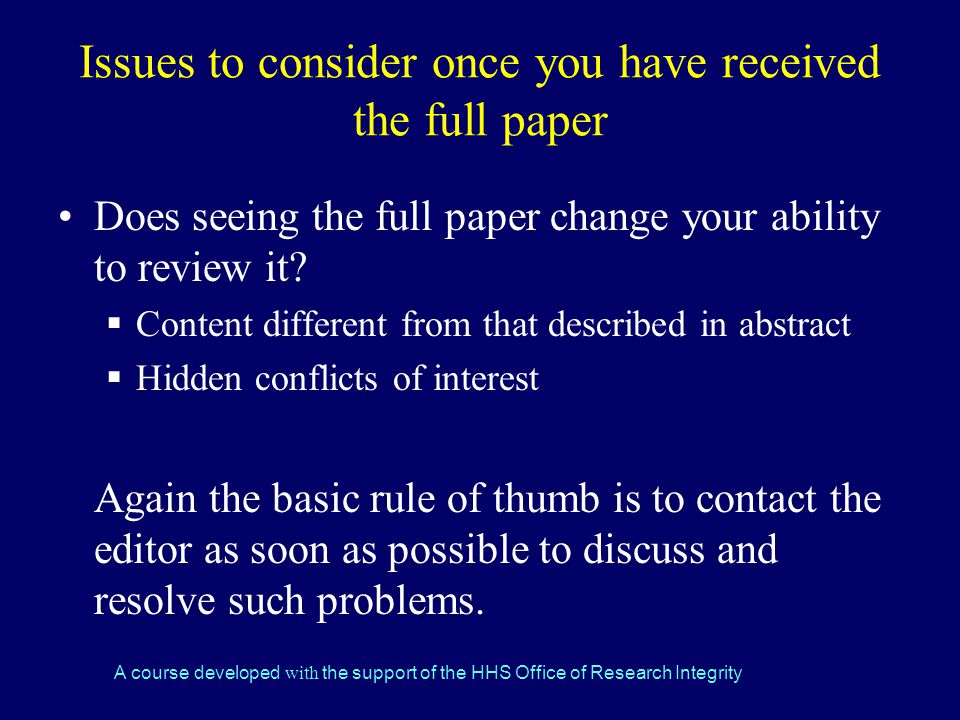 Issues to consider once you have received the full paper