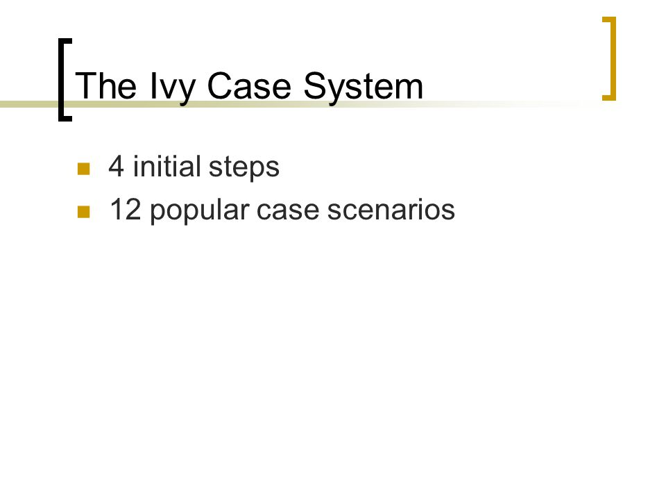 The Ivy Case System 4 initial steps 12 popular case scenarios