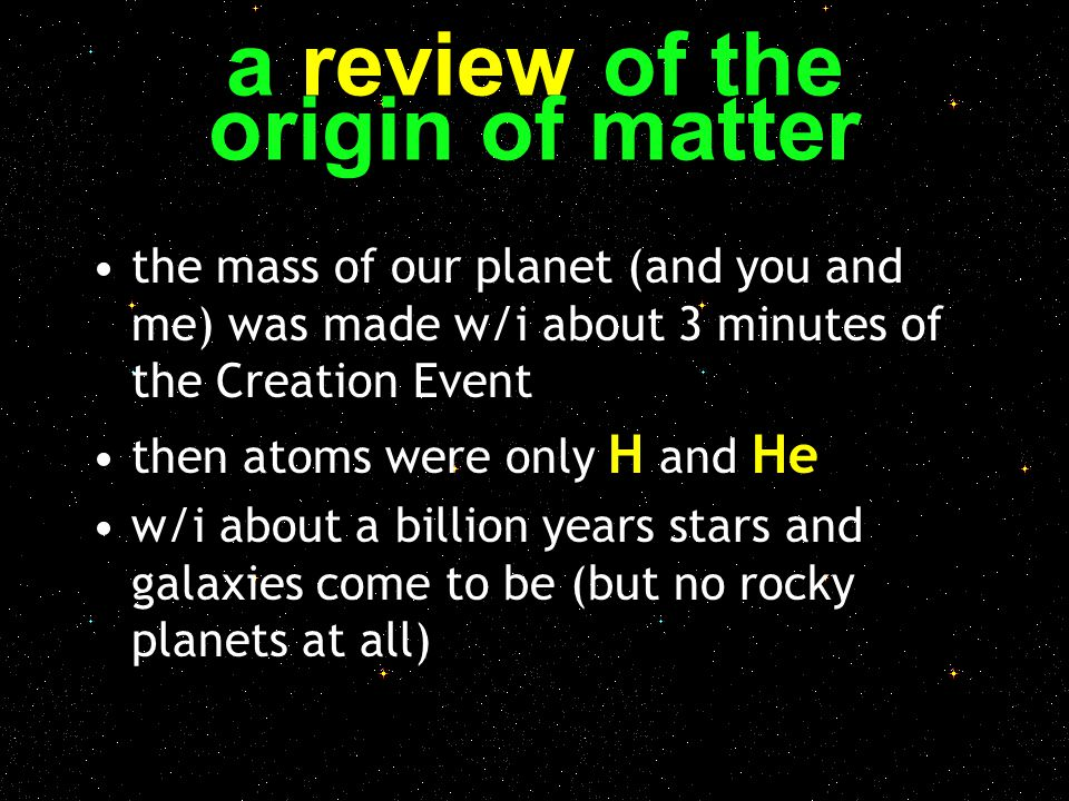 a review of the origin of matter